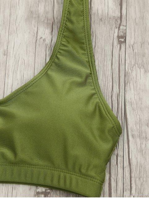 chic High Cut Scoop Bralette Bikini Set - GREEN L Mobile