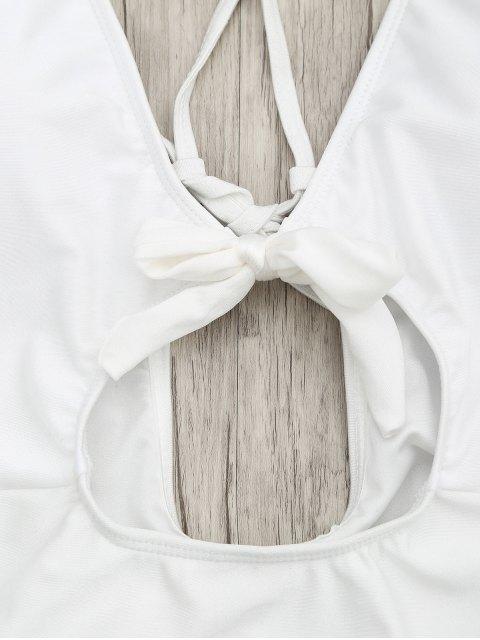 sale Knot Plunge Cutout One Piece Swimsuit - WHITE L Mobile