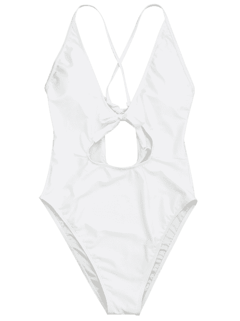 affordable Knot Plunge Cutout One Piece Swimsuit - WHITE M Mobile