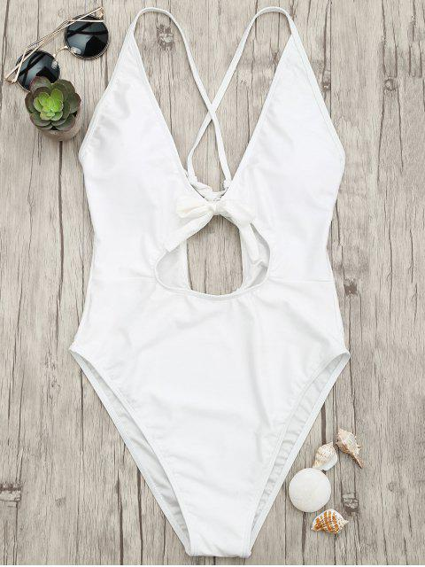 buy Knot Plunge Cutout One Piece Swimsuit - WHITE S Mobile