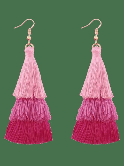 women Tassel Layered Hook Drop Earrings - PINK  Mobile