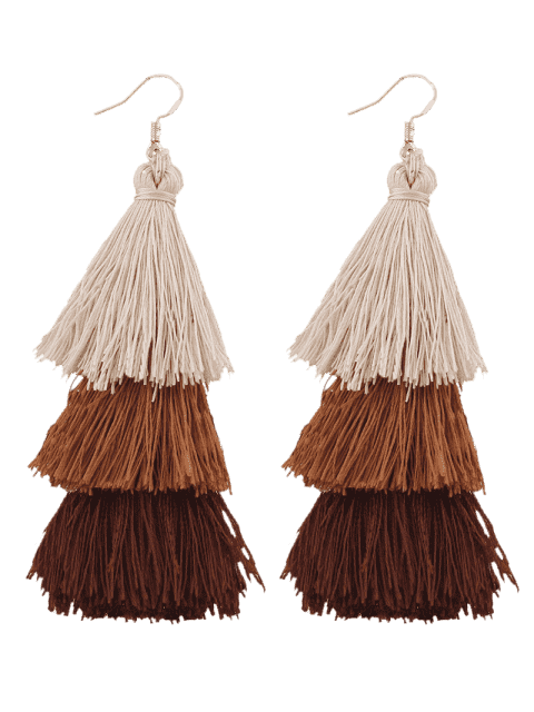 women's Tassel Layered Hook Drop Earrings - BROWN  Mobile