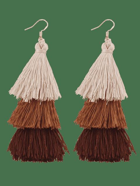 women's Tassel Layered Hook Drop Earrings - BROWN  Mobile