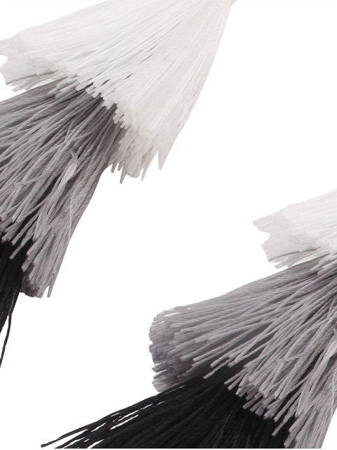 best Tassel Layered Hook Drop Earrings - BLACK + WHITE  Mobile
