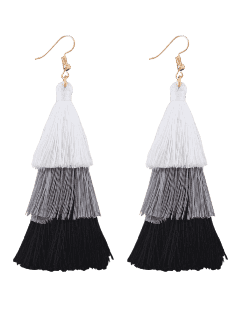 best Tassel Layered Hook Drop Earrings - BLACK + WHITE  Mobile
