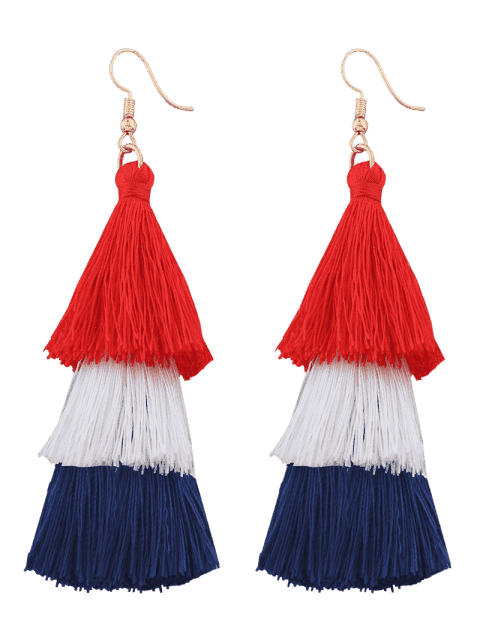 Tassel Layered Hook Drop Ohrringe - Rosarot+Blau  Mobile