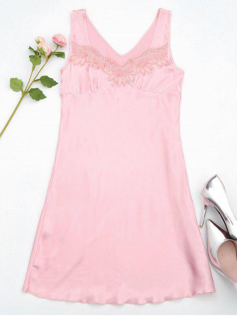 Lace Trim Satin Sleep Tank Dress - ROSE PÂLE M Mobile