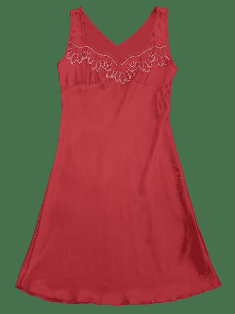 shop Lace Trim Satin Sleep Tank Dress - RED L Mobile