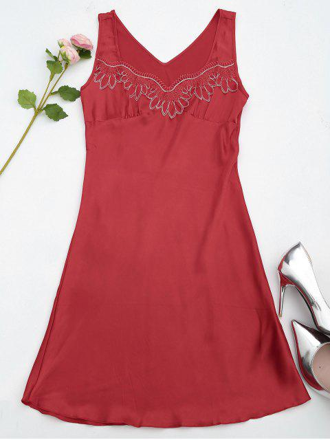 Lace Trim Satin Sleep Tank Dress - Rouge M Mobile