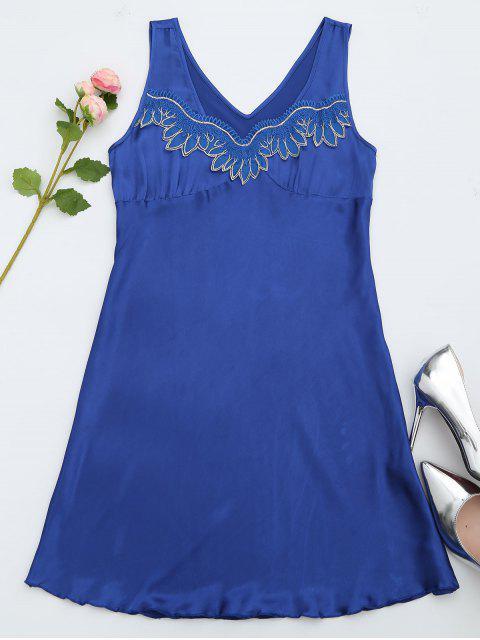 Lace Trim Satin Sleep Tank Dress - Bleu saphir M Mobile