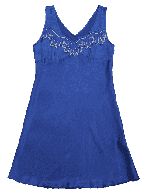 fashion Lace Trim Satin Sleep Tank Dress - SAPPHIRE BLUE M Mobile