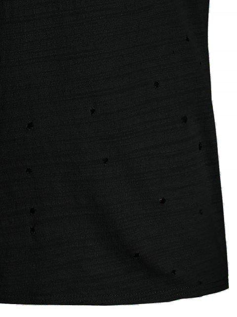 womens Mens Distressed Slub Cotton Tee - BLACK XL Mobile
