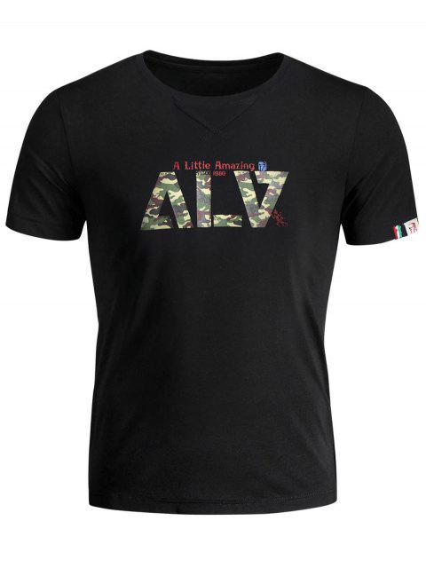 ladies Short Sleeve Graphic Camo T-shirt - BLACK 3XL Mobile
