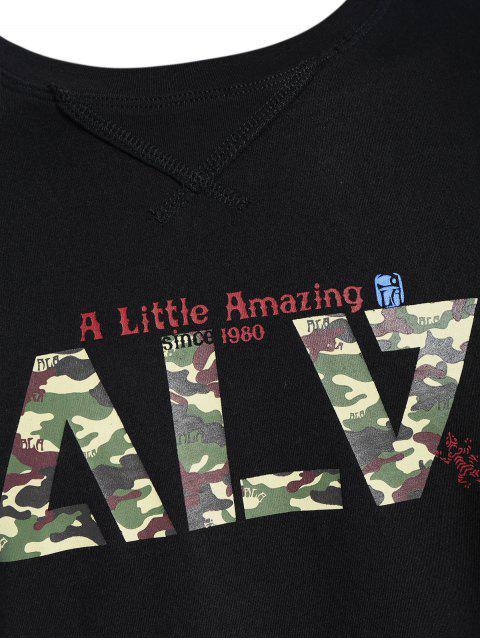lady Short Sleeve Graphic Camo T-shirt - BLACK 2XL Mobile