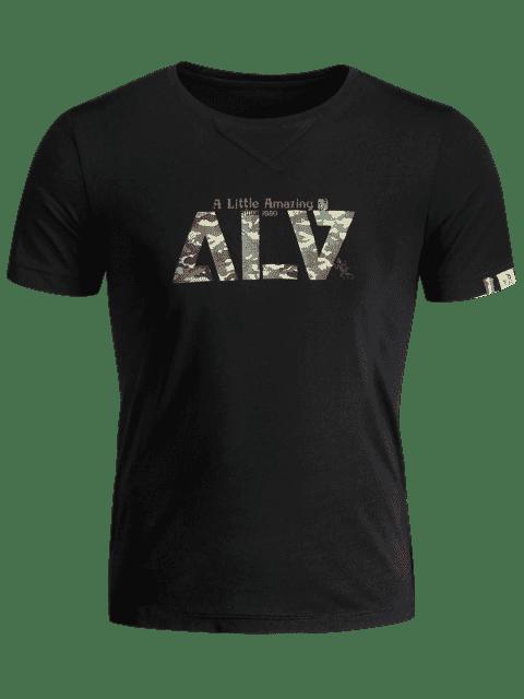 best Short Sleeve Graphic Camo T-shirt - BLACK XL Mobile