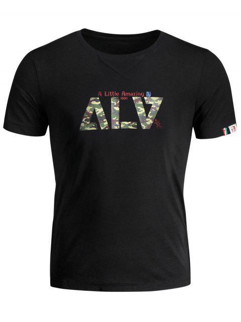 best Short Sleeve Graphic Camo T-shirt - BLACK XL Mobile