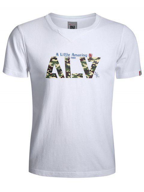 outfits Graphic Short Sleeve Camo Tee - WHITE L Mobile