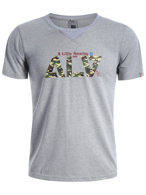 T-shirt à manches courtes à manches courtes Camo - Gris 3XL Mobile