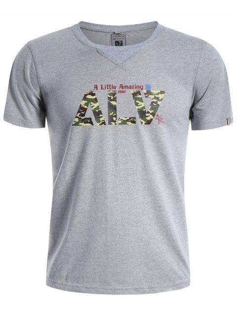 T-shirt Camo Manches Courtes Graphique - Gris XL Mobile