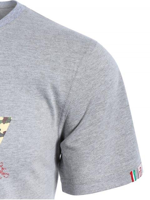 latest Graphic Short Sleeve Men Camo T-shirt - GRAY XL Mobile