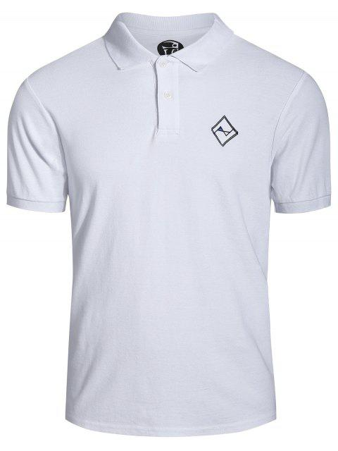 Hombres bordaron la camisa polo - Blanco 3XL Mobile