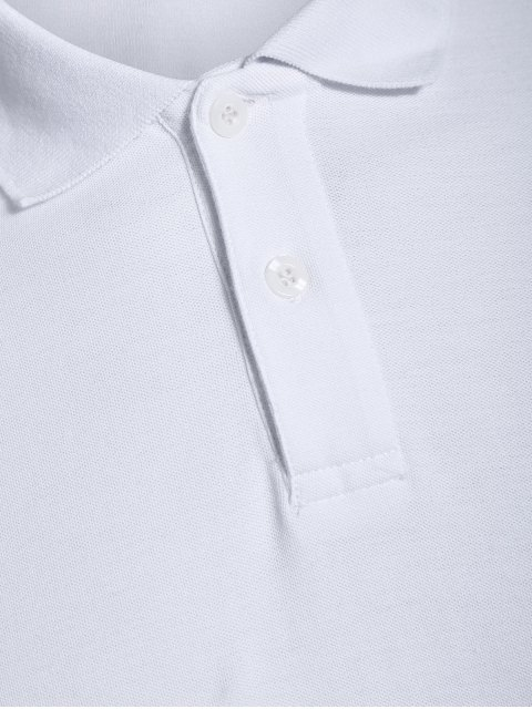 womens Men Embroidered Polo T Shirt - WHITE M Mobile