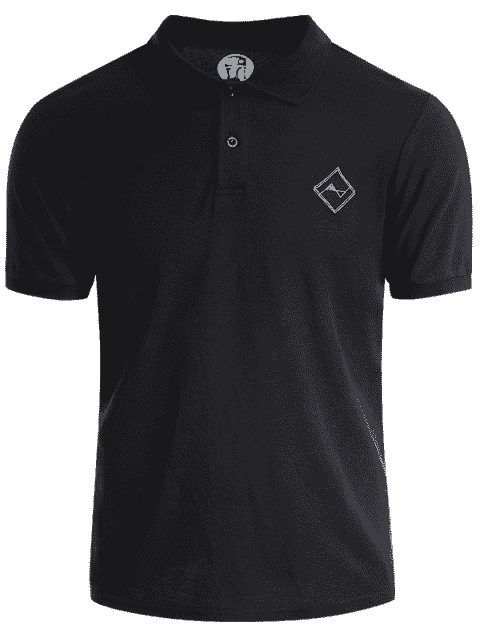 online Men Embroidered Short Sleeve Polo T Shirt - BLACK XL Mobile