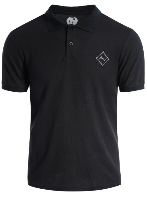 hot Men Embroidered Short Sleeve Polo T Shirt - BLACK L Mobile
