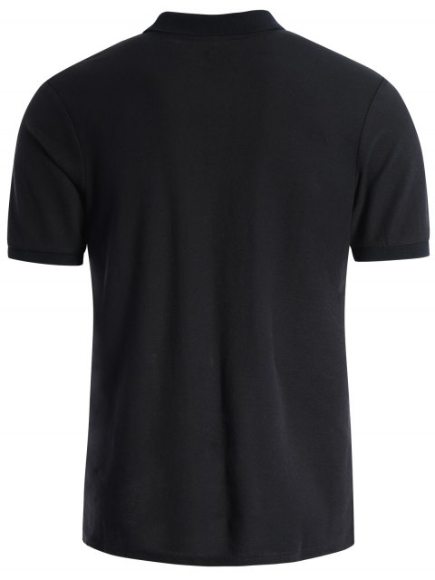 outfits Men Embroidered Short Sleeve Polo T Shirt - BLACK M Mobile