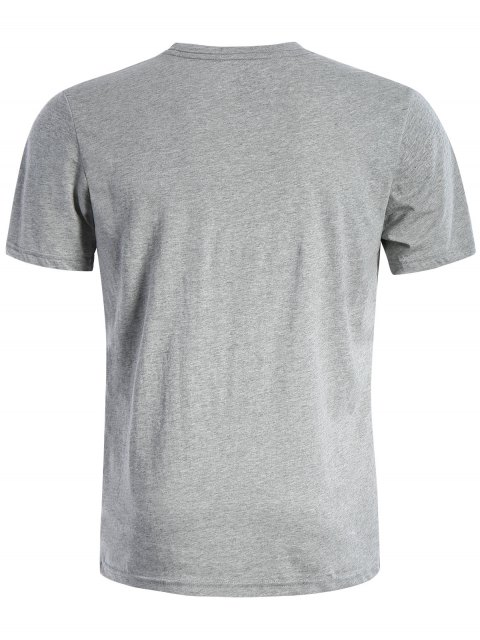 fashion Short Sleeve Cotton Blend Graphic T Shirt - GRAY 2XL Mobile