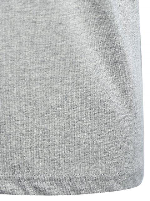 sale Short Sleeve Cotton Blend Graphic T Shirt - GRAY L Mobile