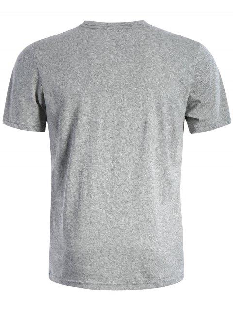 T-shirt à manches courtes en coton à manches courtes - Gris L Mobile