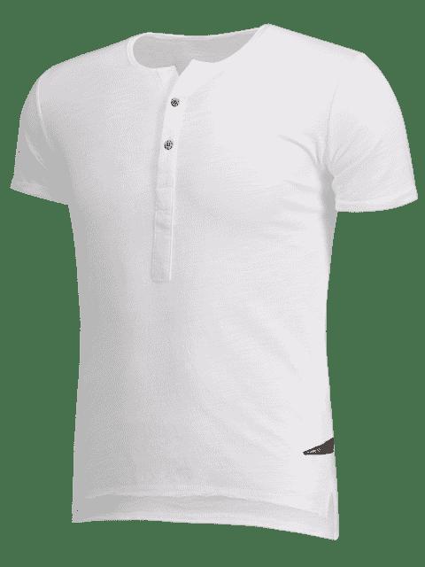 women's Slub Cotton Mens Henley - WHITE L Mobile