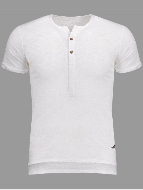 Slub Cotton Mens Henley - Blanc L Mobile