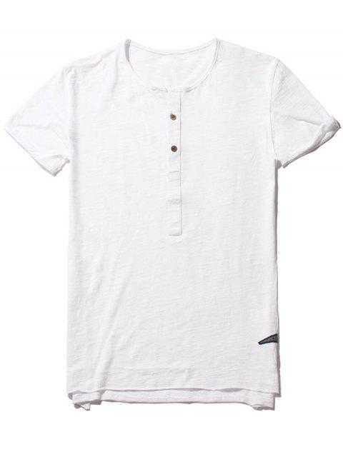 Slub Cotton Mens Henley - Blanc M Mobile