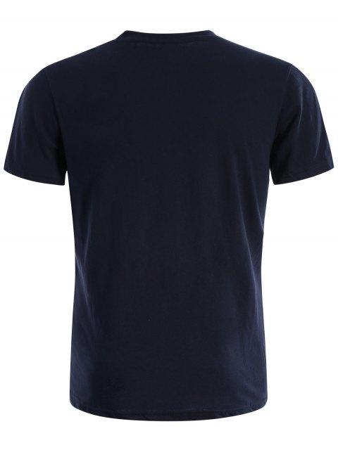 best Round Neck Cotton Blend Graphic T Shirt - PURPLISH BLUE L Mobile
