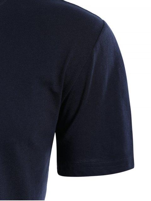 T-shirt à manches courtes en coton à manches courtes - Bleu Violet L Mobile