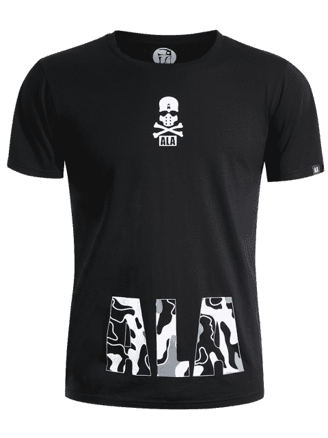 new Round Neck Skull Print Graphic T Shirt - BLACK 3XL Mobile