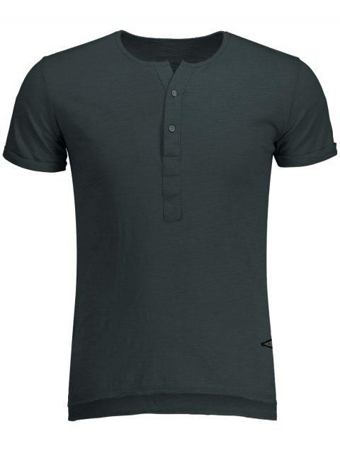 Slow Cotton Hombres Henley - Gris Oscuro M Mobile