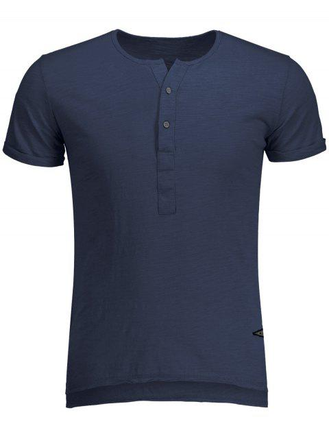 Slub Cotton Mens Henley - Bleu XL Mobile