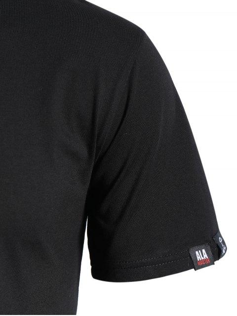 T-shirt à imprimé crânien à col rond - Noir XL Mobile