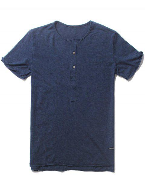 trendy Slub Cotton Mens Henley - BLUE L Mobile