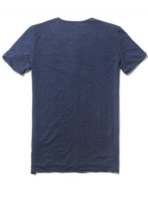 chic Slub Cotton Mens Henley - BLUE M Mobile