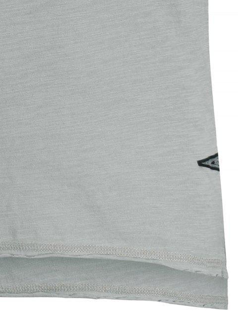 unique Slub Cotton Mens Henley - LIGHT GRAY XL Mobile