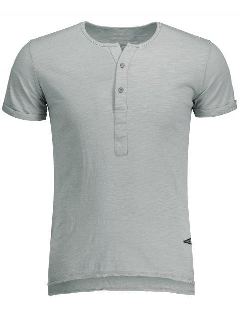 affordable Slub Cotton Mens Henley - LIGHT GRAY L Mobile