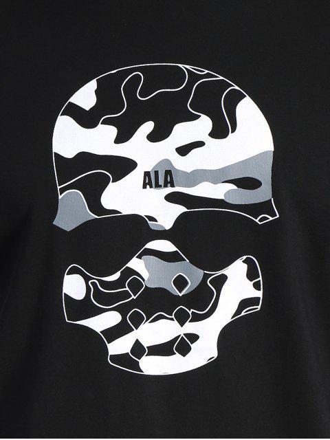 women Skull Print Graphic Camo Tee - BLACK 2XL Mobile