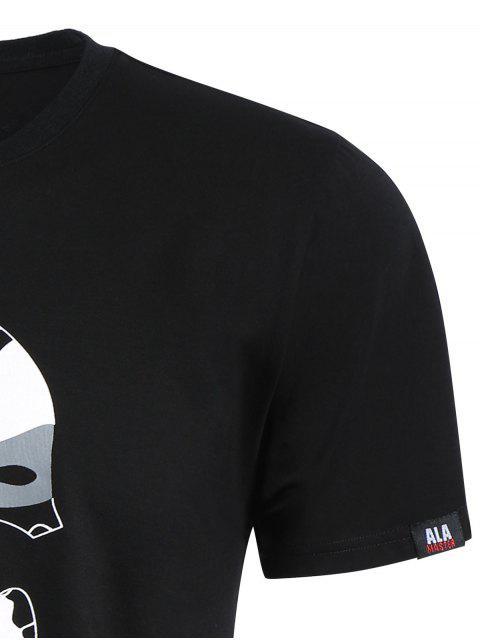 T-shirt graphique Camo imprimé crâne - Noir XL Mobile