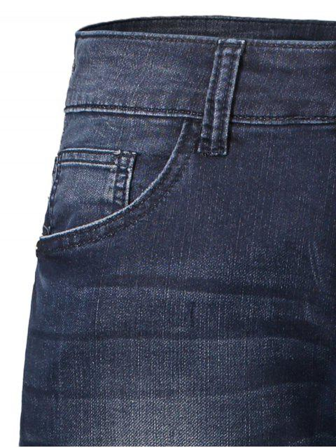best Pockets Zip Fiy Worn Jeans - DENIM BLUE 36 Mobile