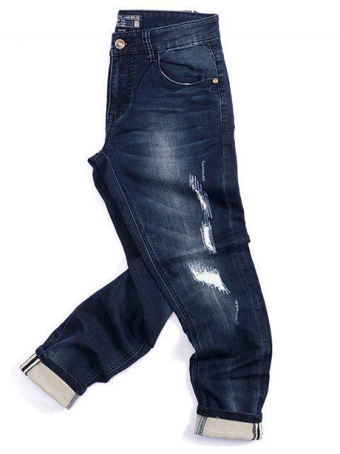 online Pockets Zip Fiy Worn Jeans - DENIM BLUE 34 Mobile