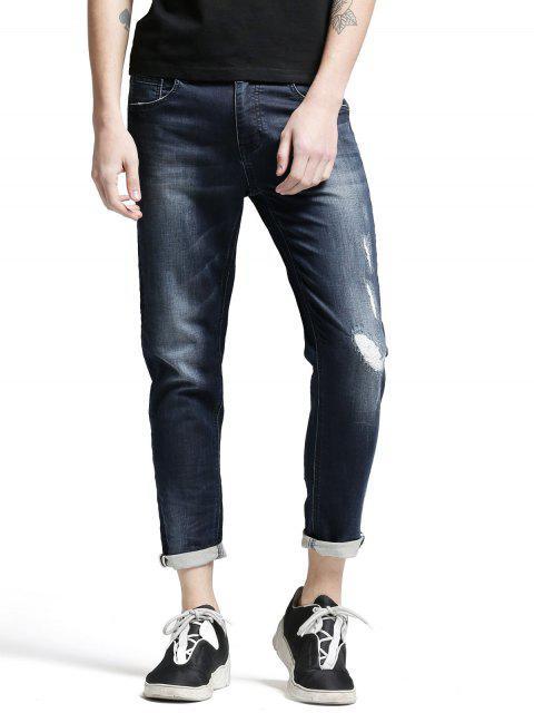 Zerrissene Jeans mit Taschen und Reißverschluss - Denim Blau 32 Mobile